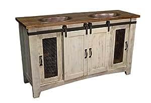 70 white farmhouse sliding barn door double sink bathroom. Black Bedroom Furniture Sets. Home Design Ideas