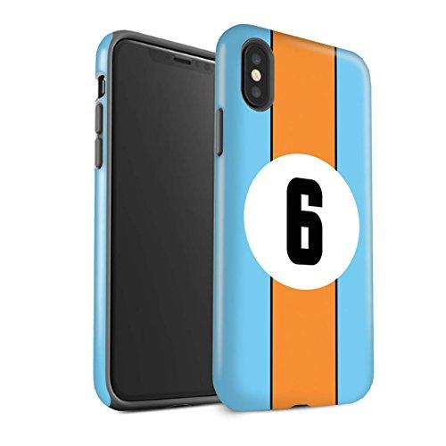 STUFF4 Gloss Tough Shock Proof Phone Case for Apple iPhone X/10 / Gulf/Blue/Orange Design/Racing Car Stripes ()