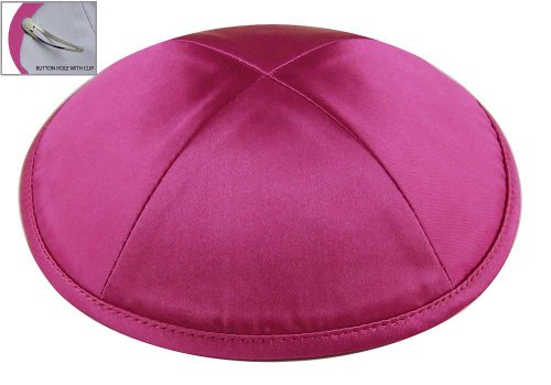Zion Judaica™ Deluxe Satin Kippot for Affairs or Everyday Use Single or Bulk (1PC, Hot Pink)