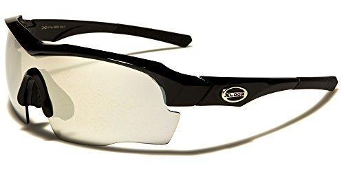 X-Loop Sportbrille Unisex Damen Herren Sport Sonnenbrille Kunststoff Schwarz Blau verspiegelte Gläser Halbrand mit Brillenbeutel dX9xv