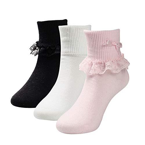 COTTON DAY 3 Pairs Toddler Baby & Kids Girls Princess Frilly Lace Ruffle Cotton Dress Socks (Pink White Black, L: Shoe Size 13.5-3.5) (Pink Black Ruffles)