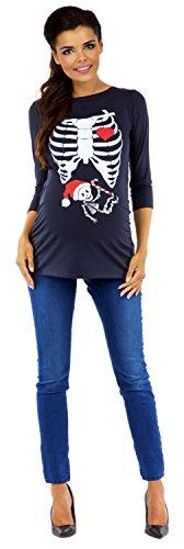 Zeta Ville - T-shirt Camiseta Premamá Esqueleto Bebé X-Rayos - para mujer - 883c Grafito