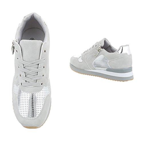 Sneakers Gris Design G 86 Baskets Ital Argent low Espadrilles Plat Chaussures femme mode 1 qBIwT8z