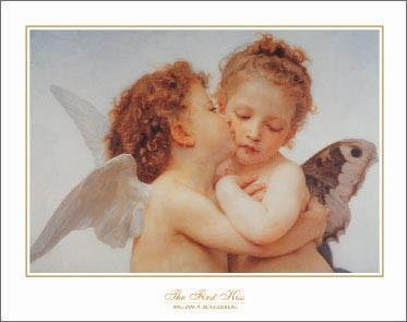William Adolphe Bouguereau - First Kiss 28 x 22