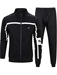 Mens Full Zip Black Tracksuit 2 Piece Sport Jogging Set