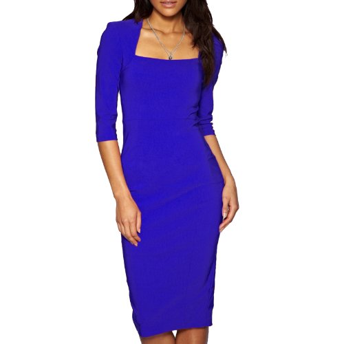 Sexy Womens 3/4 Sleeve Pencil Dress Midi Length Square Neck Office Party