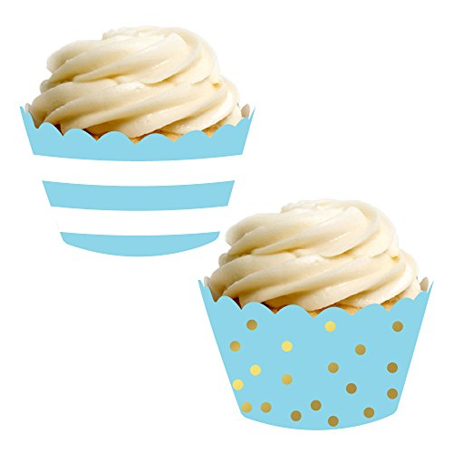 Andaz Press Party Cupcake Wrapper Decorations, Baby Blue Stripes and Metallic Gold Ink Polka Dots, 24-Pack, Theme Colored Bulk Cake Supplies