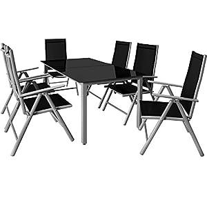 Deuba – Salon de Jardin 6+1 – Bern – 1 Table, 6 chaises – Aluminium avec Table en Verre – dossiers Hauts inclinables…