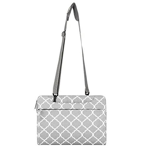 MOSISO Laptop Shoulder Bag Compatible 15-15.6 inch MacBook Pro, Ultrabook Netbook Tablet, Quatrefoil Canvas Protective Briefcase Carrying Handbag Sleeve Case Cover, Gray by MOSISO (Image #5)