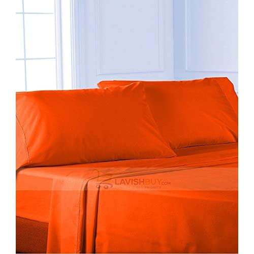 Laxlinen 350 Thread Count 100% Egyptian Cotton Super Quality 1PC Flat Sheet(Top Sheet) Three Quarter/Small Double, Orange Solid hot sale