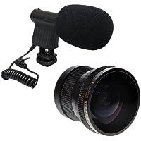 Opteka VM-8 Directional Mini-Shotgun Microphone with Opteka .20x HD Professional Super Fisheye Lens for Canon EOS 60d, 60da, 50d, 40d, 5d, 1ds, 1d, Digital Rebel T1i, T2i, T2, Xsi, Xs, Xti, Xt, T3, T3i and T4i Digital SLR Cameras