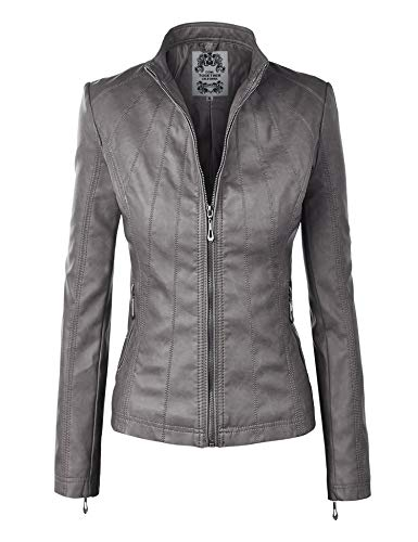 Made By Johnny MBJ WJC877 Womens Panelled Faux Leather Moto Jacket L Grey