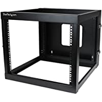 StarTech.com 8U 22-Inch Hinged Open Frame Rack Cabinet Wallmount Server Rack Components RK819WALLOH, Black