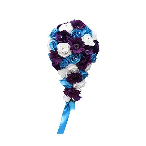 Angel Isabella, LLC Build Your Wedding Package – Malibu Turquoise, Purple, White Rose and Daisy Keepsake Artificial Flowers Bouquet Corsage Boutonnieres (Cascade Bouquet)
