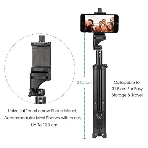 Eocean Selfie Stick Tripod, 54 Inch Adjustable iPhone Tripod, Extendable Camera Tripod for Cellphone and Camera, with Wireless Remote for iPhone 8/8 Plus/X/7/7 Plus/Galaxy/Google by Eocean (Image #3)