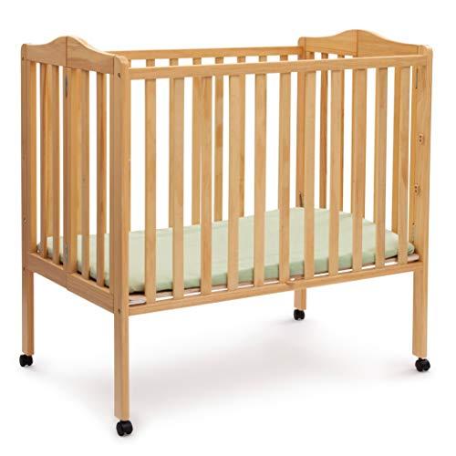 Discover Bargain Delta Children Folding Portable Mini Crib with Mattress, Natural