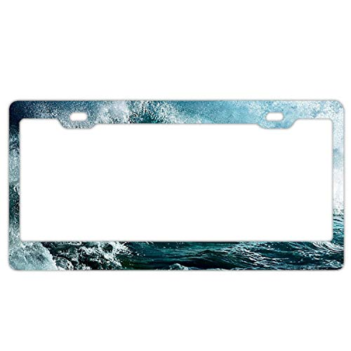 Cecil Rob Newest 2 Holes Aluminium Ocean Waves Cool License Plate - Border Big Ocean Waves