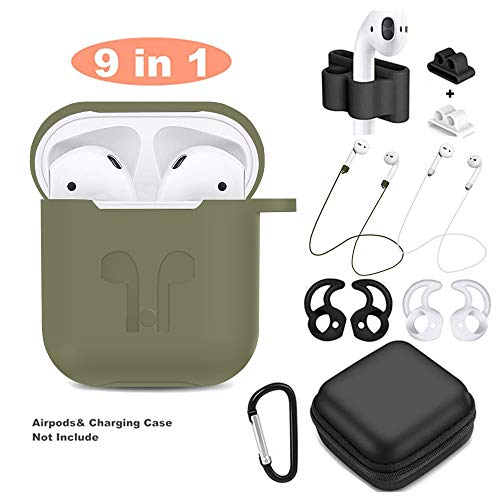 - AirPods Case 9 In 1 Airpods Accessories Kits Protective Silicone Cover and Skin Compatible Apple Airpods Charging Case with Airpods Ear Hook/Tips/Airpods Strap/Clips/Watch Band Holder (Olive Green)
