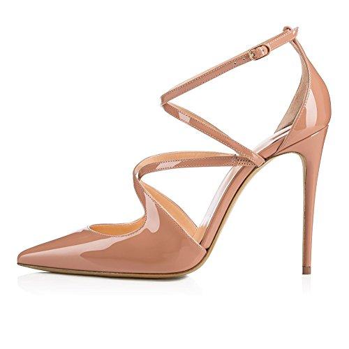 Sandales nude Cuir color Manuel Pointu Courroie Femmes Pompe verni transversale Robe SQY 7TzAFz
