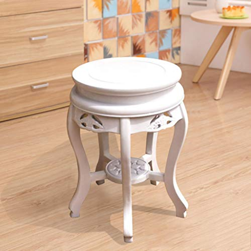- ZDD Solid Wood Stool Antique Stool Ming Qing Dynasty Classical Dining Chair Solid Wood Round Stool (Color : White, Size : Ø30x45cm)
