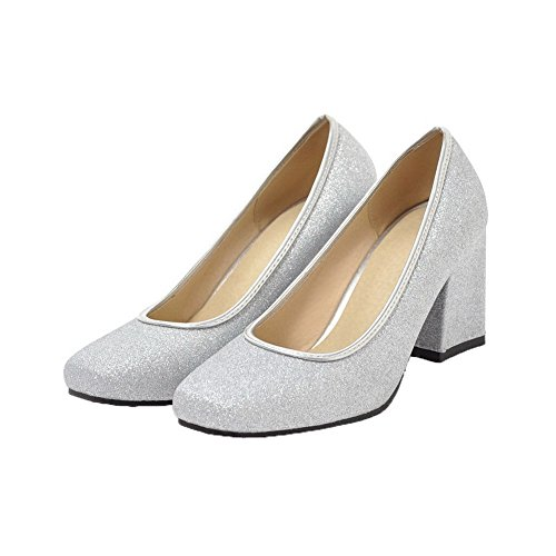 Women's Silver Pumps Closed Pull Solid Toe Kitten Heels WeiPoot Shoes On Sequins Zdw6UqTT