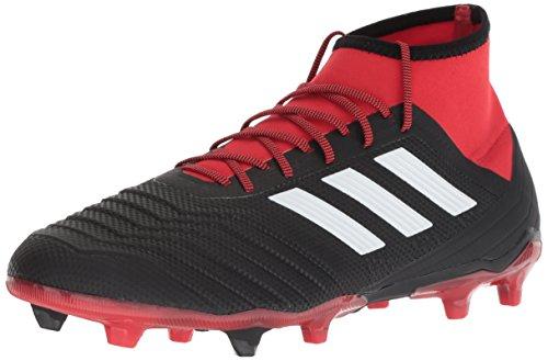 adidas Men's Predator 18.2 Firm Ground Soccer Shoe, Black/White/red, 13 M US