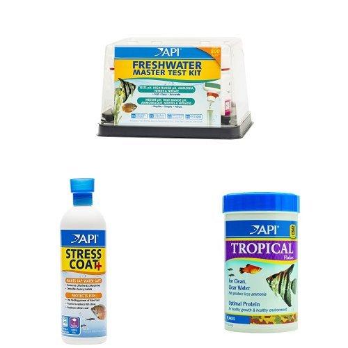 API Freshwater Aquarium Essentials Kit for Clean Water & Healthy Fish: (1) API FRESHWATER MASTER TEST KIT, (1) API STRESS COAT 16-Ounce, (1) API TROPICAL FLAKES 5.7-Ounce
