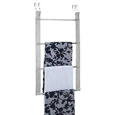 mDesign Toallero sin taladro - Práctico toallero de puerta de gran capacidad con 4 barras para toallas y ropa - Secatoallas de acero inoxidable y piel ...