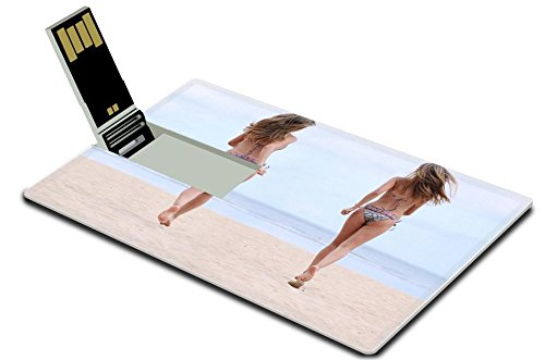 Liili 32GB USB Flash Drive 2.0 Memory Stick Credit Card Size happy women in bikini walks on a beach Photo 9619952 Simple Snap Carrying