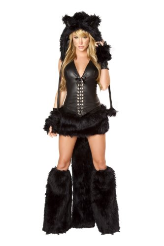 J. Valentine Women's Black Cat Costume Lace-Up Top with Boning and Side Zipper and Faux Fur Trimmed Skirt with Tail, Black, (Burning Man Cat Costume)