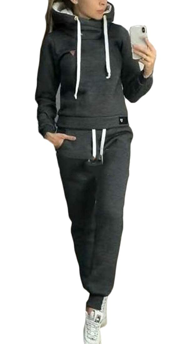 omniscient Women Fashion Solid Velour Sweatsuit Set Hoodie and Pants Sport Tracksuits