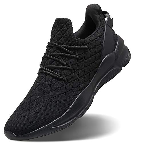 MATRIP All Black Athletic Shoes Men Casual Cool Slip on Light Comfort Fashion Walking Running Training Workout Sneakers Gifts for Father's Day Young Mens Size 10