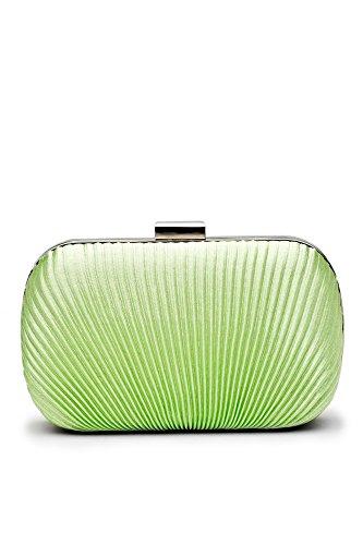 Women Clutch Purse Wallet Hard Case Satin Evening Bag Handbag With Chain Strap (Green) (Hard Case Satin Clutch)