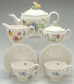 Lenox Butterfly Meadow 9 Pc Tea Set (TP CR SU 2 CSFT & Amazon.com | Lenox Butterfly Meadow 9 Pc Tea Set (TP CR SU 2 CSFT ...