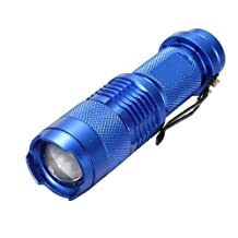 7W 300LM Mini CREE LED Flashlight Torch Adjustable Focus Zoom Light Lamp-Blue(1 mode)