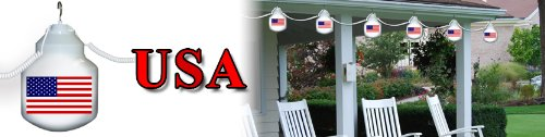Polymer Products LLC 1601-USFLAG American Flag Six globe String light Set by Polymer Products LLC