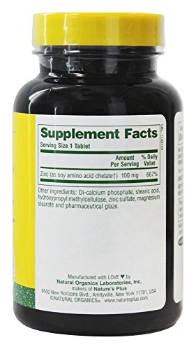 Amazon.com: Natures Plus Mega Zinc - 100 mg, 90 Vegetarian Tablets,  Sustained Release - Maximum Absorption Immune Support Supplement, Brain  Booster - Gluten ...