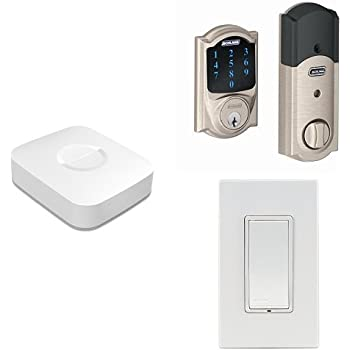 Samsung SmartThings Hub, 2nd Generation, with Schlage Connect BE469NX CAM 619 Touchscreen Deadbolt, Satin Nickel, and Leviton Z-Wave Switch