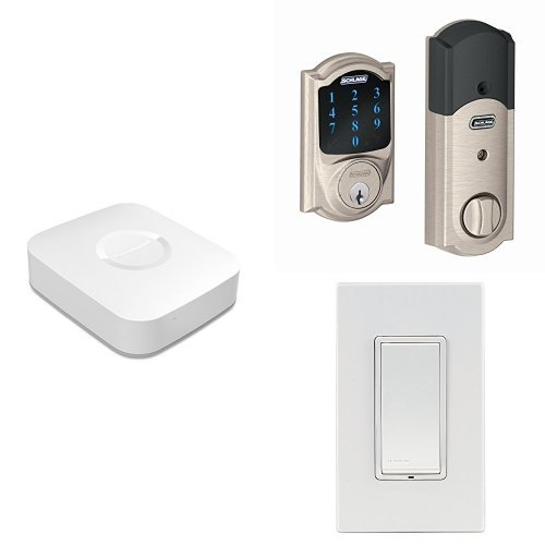 Samsung SmartThings Hub, 2nd Generation, with Schlage Connect BE469NX CAM 619 Touchscreen Deadbolt, Satin Nickel, and Leviton Z-Wave Switch  samsung z wave | SmartThings' next-gen hub does more 41E8f9ooG 2BL