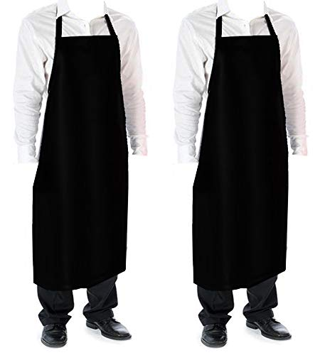 Cozy Home Vinyl Waterproof Aprons Durable Ultra Lightweight Extra Long Black 2 pack ()