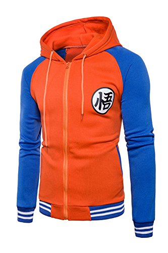 Japanese Anime Dragon Ball Z Goku Symbol Zip Hoodies Sweatshirt Costumes (Medium, Orange/Blue)
