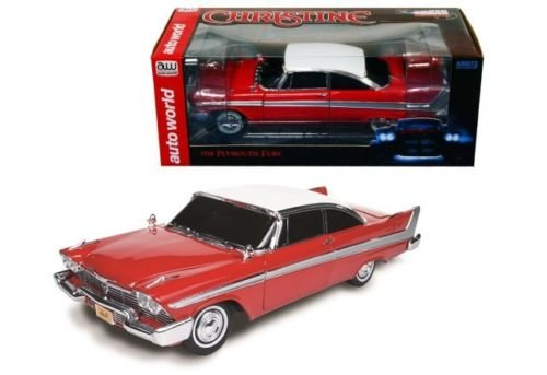 New 1:18 AUTO WORLD COLLECTION - RED COLOR PLYMOUTH 1958 FURY