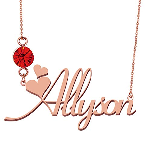 HUAN XUN Personalized Name Allyson Jewelry Birthstone Necklace -