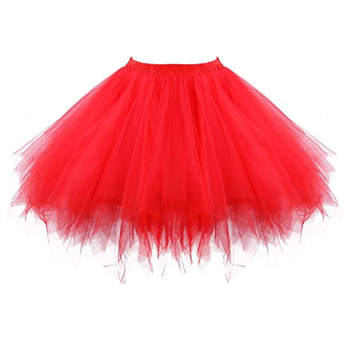 Honeystore Women's Short Vintage Ballet Bubble Puffy Tutu Petticoat Skirt Red -