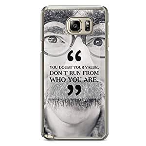 Samsung Note 5 Transparent Edge Phone Case You Doubt Your Value Phone Case Motivation Note 5 Cover with Transparent Frame