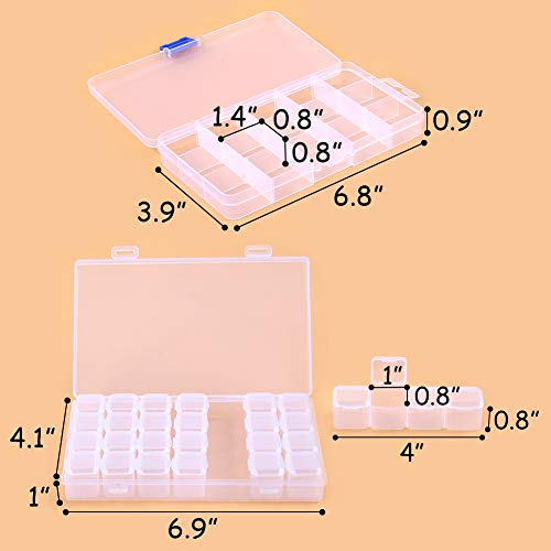 Embroidery Diamond Storage Box, 3 Pack 71 Grids Clear Plastic Bead Containers for Jewelry Painting DIY Art Craft Rhinestones Sewing Cosmetic Nail Glitter Powder Accessory