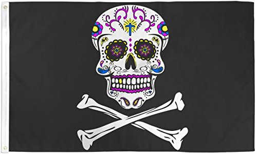 Pirate Sugar Skull Flag 3x5ft Poly -