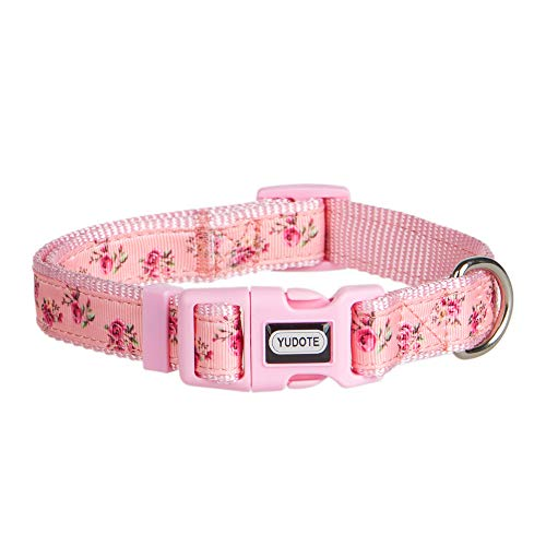 YUDOTE 2019 New Spring Flower Dog Collars, Adjustable Pink Collar for Girl Dogs, Cute Designer Puppy Collar, Small, Neck 10