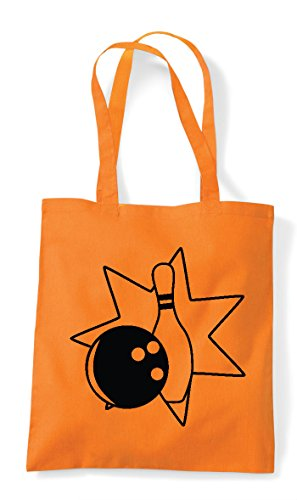 Pin And Bag Shopper Ball Tote Bowling Statement Icon 4 Orange qEawTR