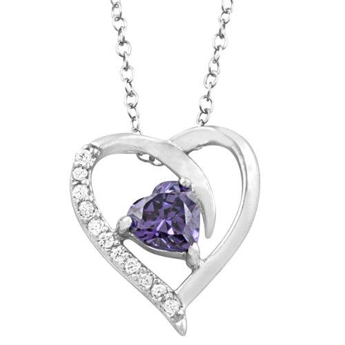 February Birthstone Heart - Kooljewelry Sterling Silver Purple Cubic Zirconia February Birthstone Heart Necklace (18 inch)